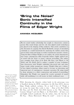 'Bring the Noise!' Sonic Intensified Continuity in the Films of Edgar Wright