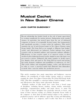 Musical Cachet in New Queer Cinema