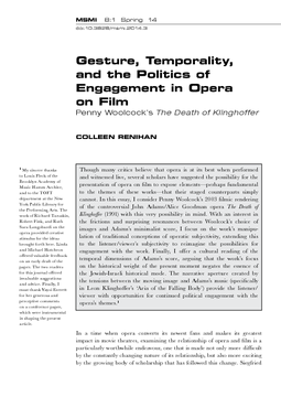 Gesture, Temporality, and the Politics of Engagement in Opera on Film