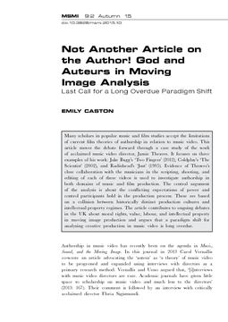 Not Another Article on the Author! God and Auteurs in Moving Image Analysis