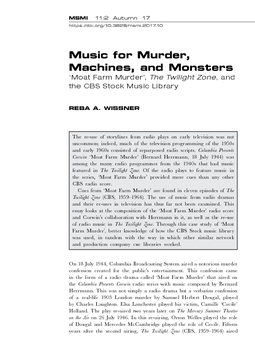 Music for Murder, Machines, and Monsters