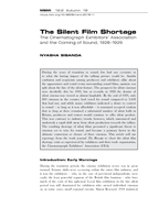 The Silent Film Shortage