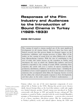 Responses of the Film Industry and Audiences to the Introduction of Sound Cinema in Turkey (1929–1933)
