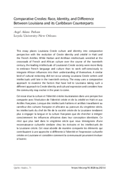 Comparative Creoles: Race, Identity, and Difference Between Louisiana and its Caribbean Counterparts