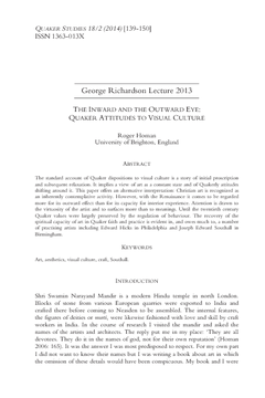 The Inward and the Outward Eye: Quaker Attitudes to Visual Culture
