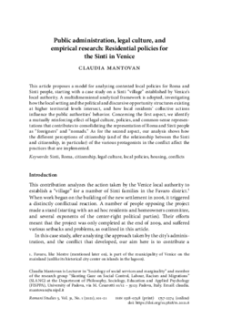 Public administration, legal culture, and empirical research: Residential policies for the Sinti in Venice