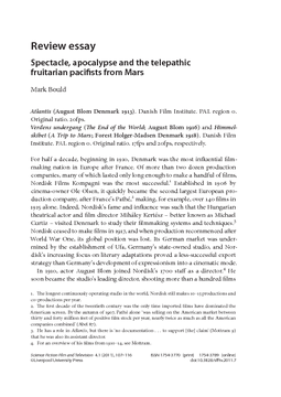 Review essay: Spectacle, apocalypse and the telepathic fruitarian pacifists from Mars