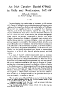 An Irish Cavalier: Daniel O'Neill in Exile and Restoration, 1651-64*