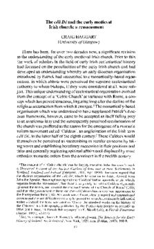 The céli Dé and the early medieval Irish church: a reassessment