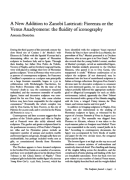 A New Addition to Zanobi Lastricati: Fiorenza or the Venus Anadyomene: the fluidity of iconography