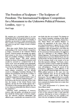 The Freedom of Sculpture - The Sculpture of Freedom: The International Sculpture Competition for a Monument to the Unknown Political Prisoner, London, 1951-3