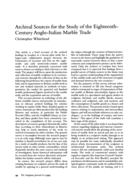 Archival Sources for the Study of the Eighteenth-Century Anglo-Italian Marble Trade