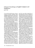 Clement Greenberg on English Sculpture and Englishness