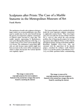 Sculptures after Prints: The Case of a Marble Statuette in the Metropolitan Museum of Art
