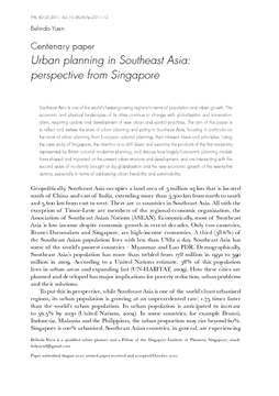 Centenary paper: Urban planning in Southeast Asia: perspective from Singapore