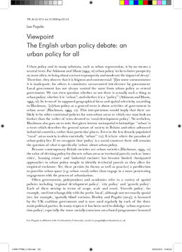 The English urban policy debate: an urban policy for all