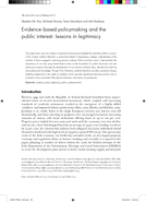 Evidence-based policymaking and the public interest: lessons in legitimacy