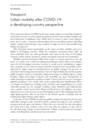 Urban mobility after COVID-19: a developing-country perspective