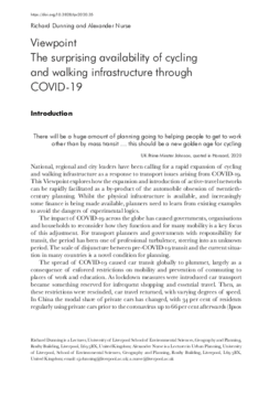 The surprising availability of cycling and walking infrastructure through COVID-19