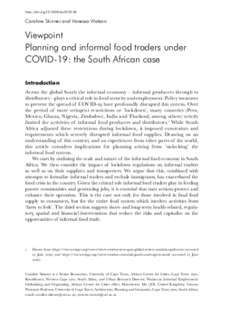 Planning and informal food traders under COVID-19: the South African case