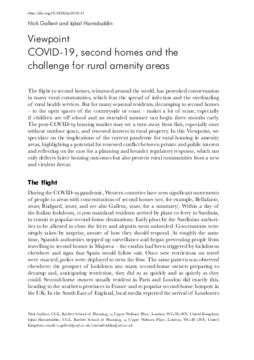 COVID-19, second homes and the challenge for rural amenity areas
