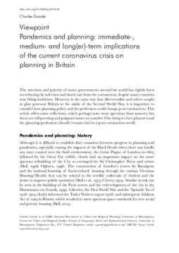 Pandemics and planning: immediate-, medium- and long(er)-term implications of the current coronavirus crisis on planning in Britain