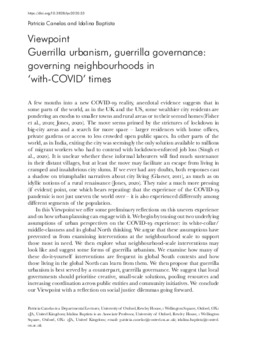 Guerrilla urbanism, guerrilla governance: governing neighbourhoods in 'with-COVID' times