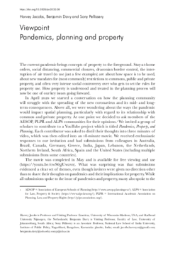 Pandemics, planning and property