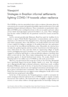 Strategies in Brazilian informal settlements: fighting COVID-19 towards urban resilience