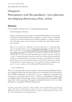 Participation and the pandemic: how planners are keeping democracy alive, online