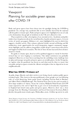 Planning for sociable green spaces after COVID-19