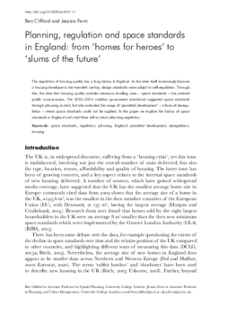 Planning, regulation and space standards in England: from 'homes for heroes' to 'slums of the future'