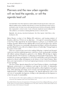 Planners and the new urban agenda: will we lead the agenda, or will the agenda lead us?