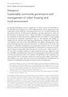 Sustainable community governance and management of urban housing and local environment