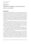 Reliable knowledge for planning practice: why is it so elusive?