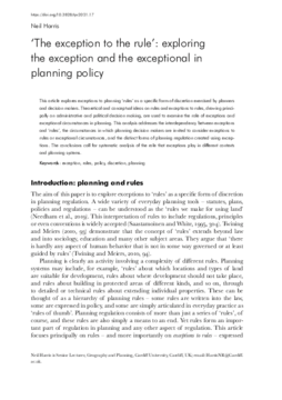 'The exception to the rule': exploring the exception and the exceptional in planning policy