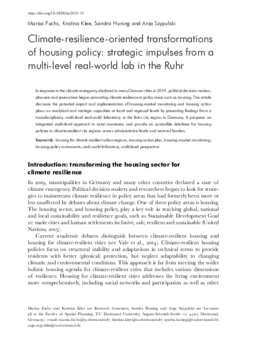 Climate-resilience-oriented transformations of housing policy: strategic impulses from a multi-level real-world lab in the Ruhr