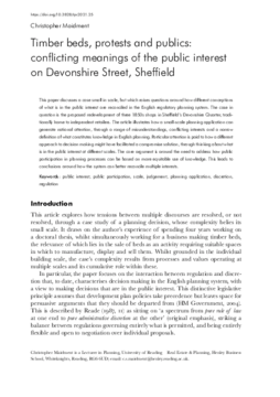 Timber beds, protests and publics: conflicting meanings of the public interest on Devonshire Street, Sheffield