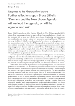 Further reflections upon Bruce Stiftel's 'Planners and the New Urban Agenda: will we lead the agenda, or will the agenda lead us?'