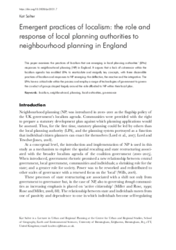 Emergent practices of localism: the role and response of local planning authorities to neighbourhood planning in England