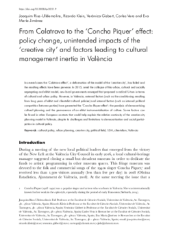 From Calatrava to the 'Concha Piquer' effect: policy change, unintended impacts of the 'creative city', and factors leading to cultural management inertia in València