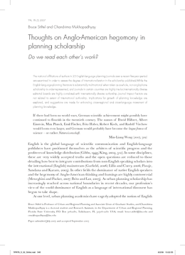 Thoughts on Anglo-American hegemony in planning scholarship: Do we read each other's work?