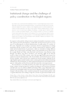 Institutional change and the challenge of policy coordination in the English regions