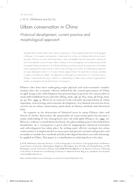 Urban conservation in China: Historical development, current practice and morphological approach