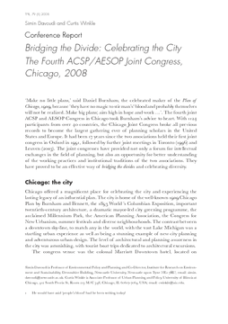 Conference Report: Bridging the Divide: Celebrating the City The Fourth ACSP/AESOP Joint Congress, Chicago, 2008