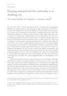 Housing renewal and the community in a shrinking city: Two recent books on Liverpool – a review article