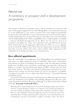 Editorial note: A centenary in prospect and a development programme