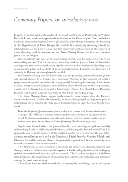 Centenary Papers: an introductory note