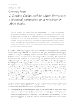 V. Gordon Childe and the Urban Revolution: a historical perspective on a revolution in urban studies