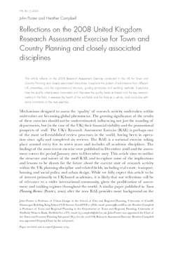 Reflections on the 2008 United Kingdom Research Assessment Exercise for Town and Country Planning and closely associated disciplines